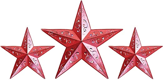 "Burgundy Red Farmhouse Style Metal Barn Star 12/"""