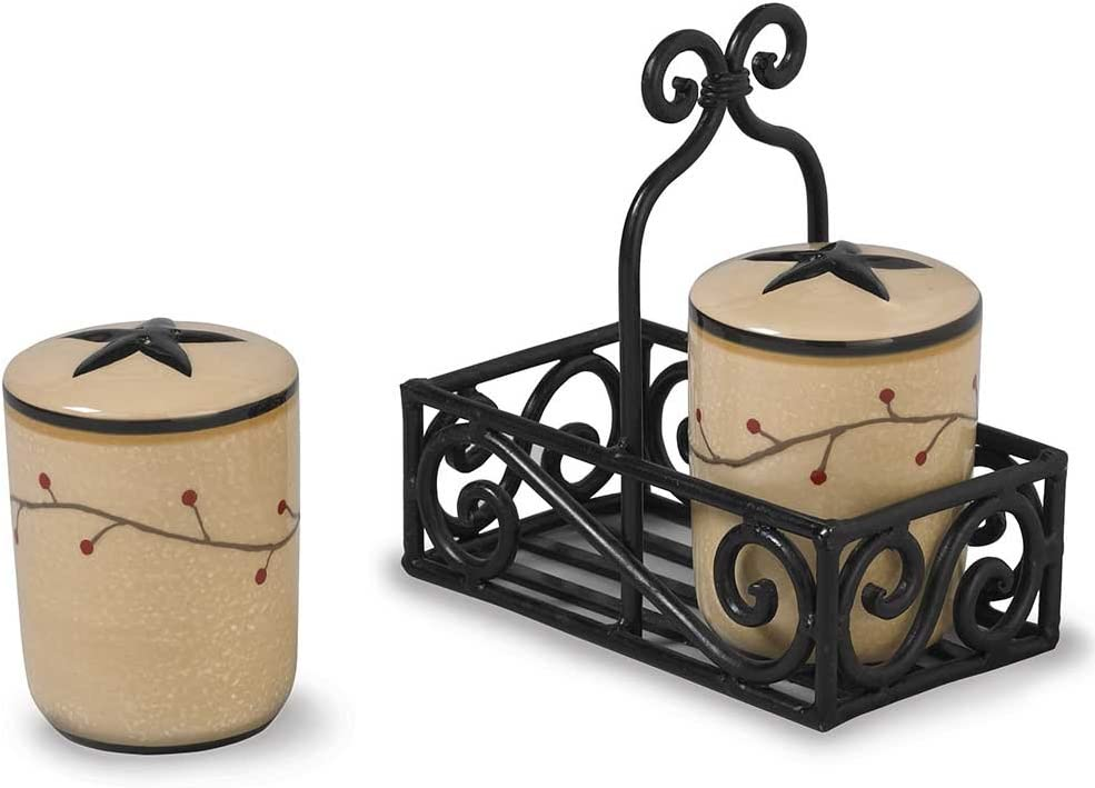 Star Vine Salt and Pepper Set with Caddy Included by Park Designs