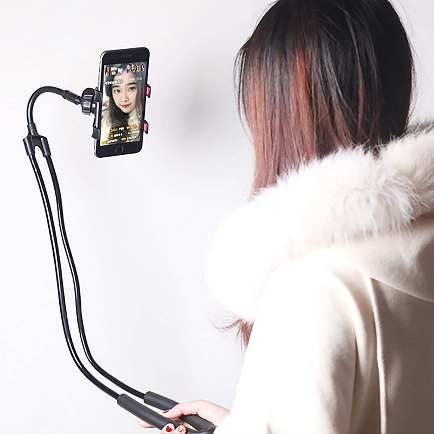 JIAX Portable Flexible Mobile Phone Holder Hanging Neck Lazy Necklace Bracket 360 Degree Smartphone Holder for iPhone Xiaomi Huawei