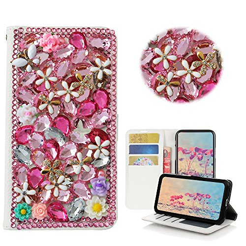 STENES LG Stylo 2 Case, LG Stylo 2 Plus Case - Stylish - 3D Handmade Bling Crystal Flowers Floral Desgin Wallet Credit Card Slots Fold Media Stand Leather Cover Case - Pink Bling Kit Crystals Cell Phone