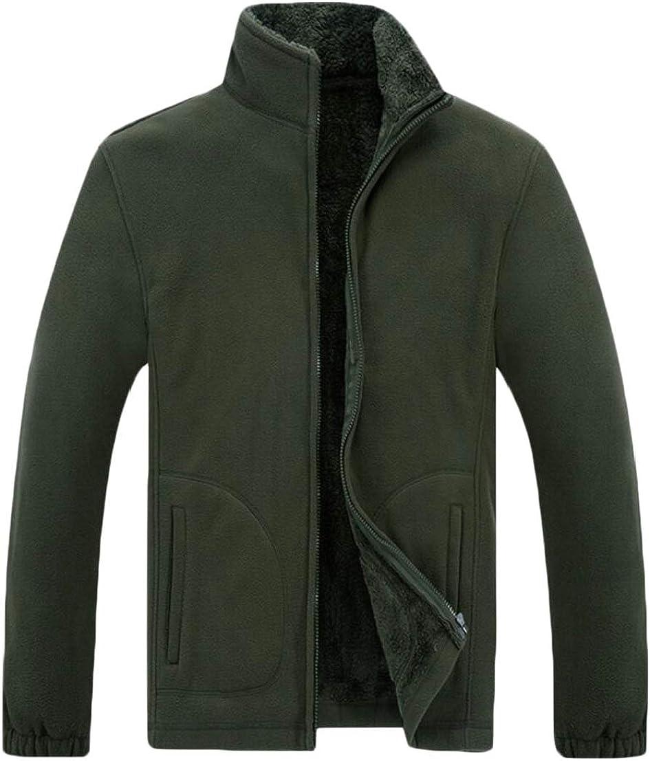 Generic Mens Thick Polar Fleece Loose Fit Stand Collar Sweatshirt Jackets
