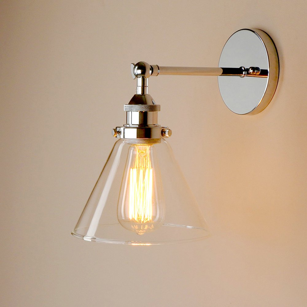 Frideko Vintage Industrial Funnel Glass Lampshade Wall Corridor Light for Home Office Bedroom Coffee Shop (Type A, Chrome)