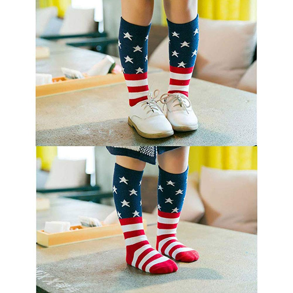 Efanr Kids USA Flag Socks Casual Crew Fashionable Cotton Striped and Star Socks