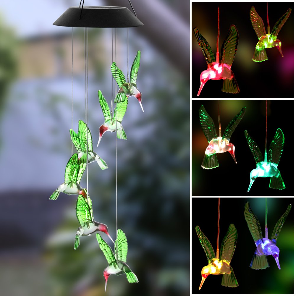 KUAHAIHINTERAL Wind Chime,HOPESOOKY Color-Changing Outdoor Waterproof Led Solar Powered Wind Chimes for Home/Party/Yard/Garden Decoration (Hummingbird Wind Chime)