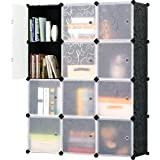 KOUSI Portable Storage Shelf Cube Shelving Bookcase Bookshelf Cubby  Organizing Closet Toy Organizer Cabinet, Black