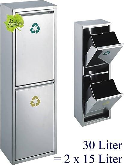 Made for us 30 L Edelstahl Wand-Abfalleimer 2x15 L Mülleimer 2-Fach  Mülltrennung 2er Müll-Trennsystem 30 Liter Abfallsammler zur Abfall-Trennung