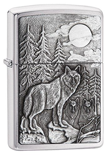 Howling Timberwolves Wolf Zippo Outdoor Indoor Windproof Lighter Free Custom Personalized Engraved Message Permanent Lifetime Engraving on -
