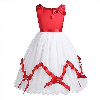 e38302d3c28 TiaoBug Enfant Fille Robe de Noël Robe de Soirée Cérémonie FêteTutu Robe  Tulle Satin Robe de