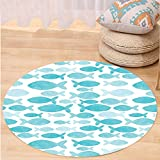 VROSELV Custom carpetOcean Animal Decor Fish Figures Generated Watercolors Brushstrokes Cute Kids Nursery Theme for Bedroom Living Room Dorm Blue White Round 79 inches