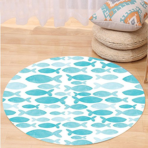 VROSELV Custom carpetOcean Animal Decor Fish Figures Generated Watercolors Brushstrokes Cute Kids Nursery Theme for Bedroom Living Room Dorm Blue White Round 79 inches by VROSELV