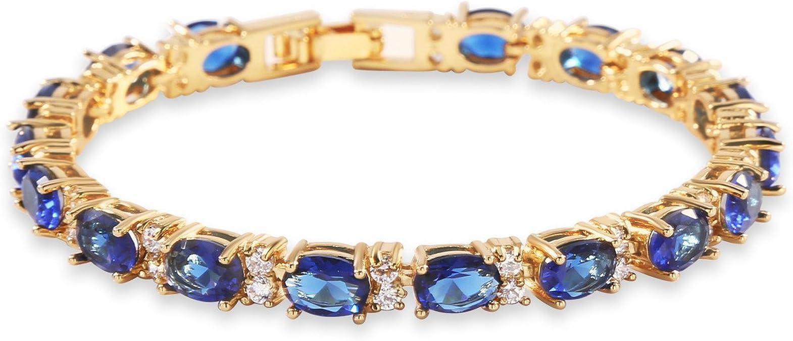 18K or Rose Multi-Color Sapphire Women/'s Tennis Bracelet 17 cm