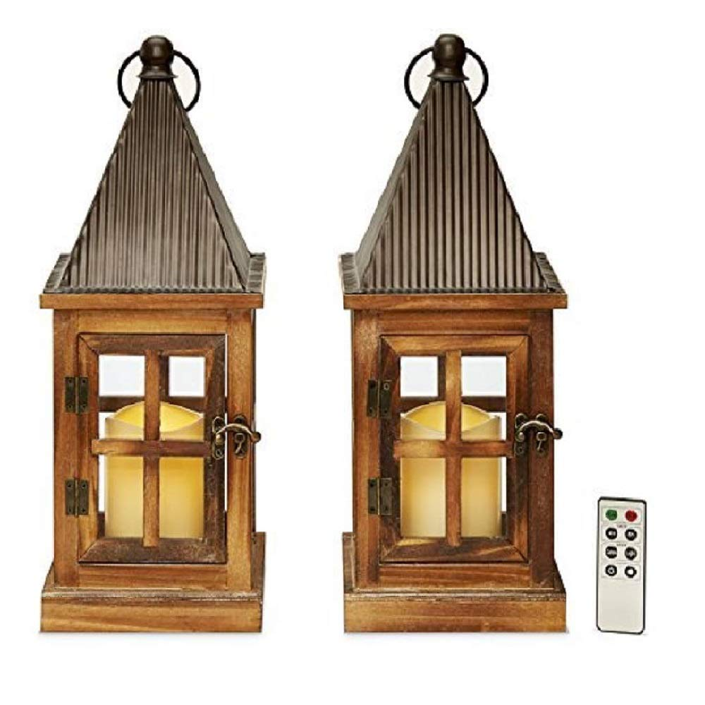 Flameless Tin & Wood Rustic Candle Lanterns, 15'' Height, Warm White LEDs, Indoor/Outdoor Use, Water Resistant, Batteries & Remote Included - Set of 2
