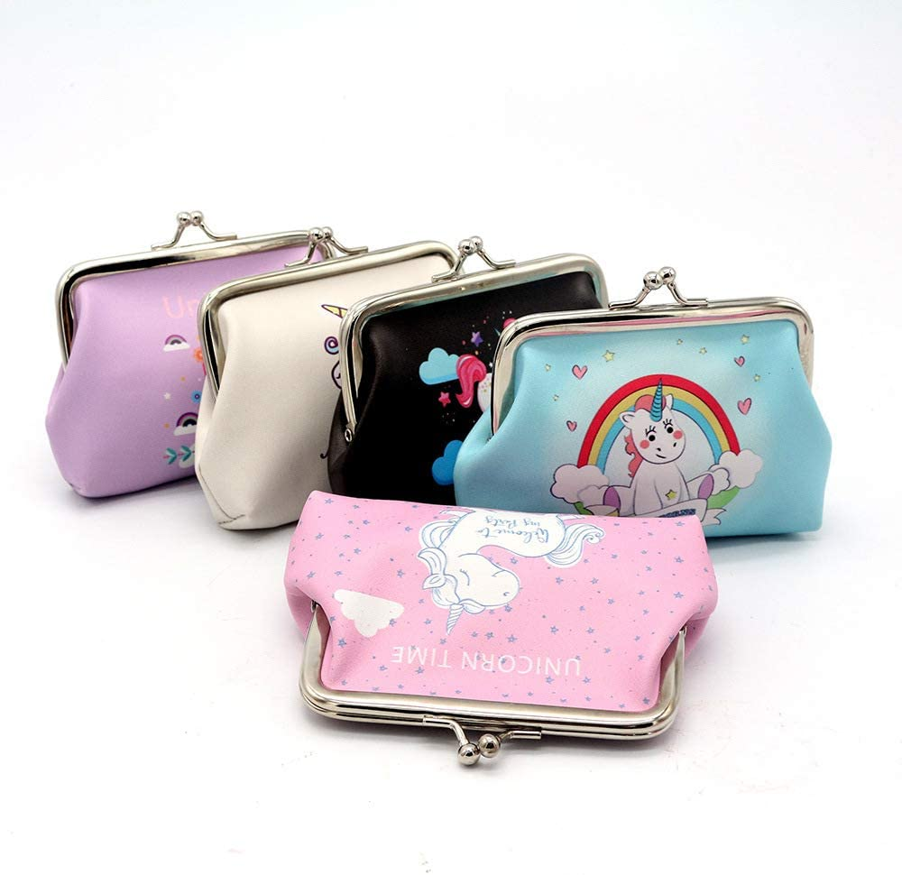 Cute Kiss Lock Pouch Wallet for Women Girl gift Pu Leather Coin Purse Cartoon Clasp Closure Clutch Pouch Wallet black