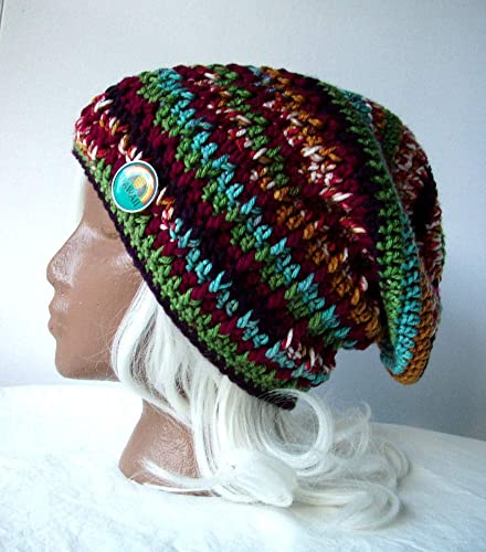Amazon.com  Multicolor Stripe Beanie w Hawaii Button Ribbed Slouchy ... a72b5699fe2