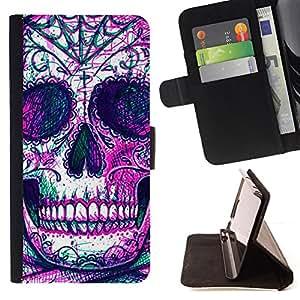 Jordan Colourful Shop - skull skeleton ink purple tattoo For Apple Iphone 4 / 4S - < Leather Case Absorci????n cubierta de la caja de alto impacto > -