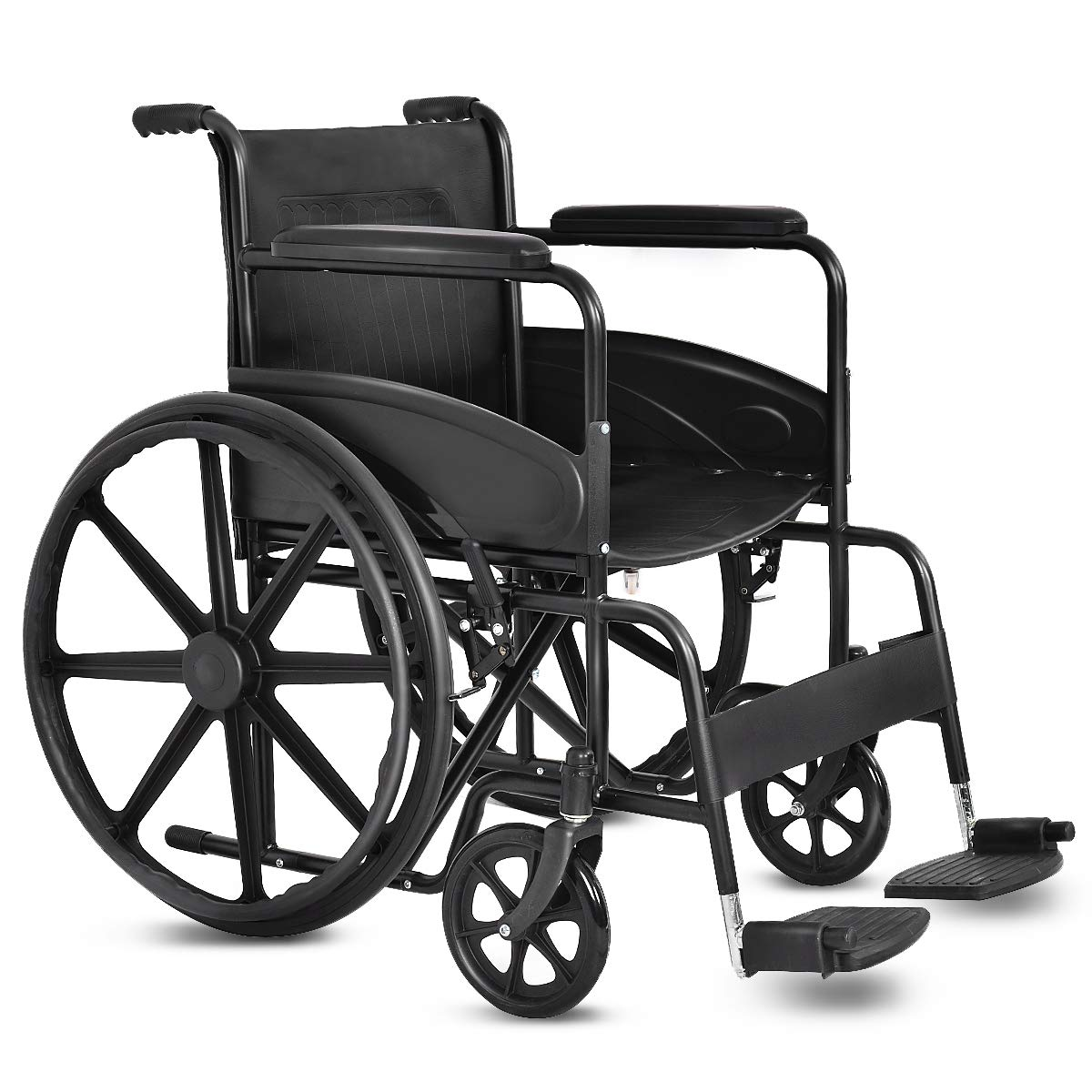 Giantex 24'' Foldable Medical Wheelchair Manual, Large 23'' Durable Rubber Wheel Smart Brakes 8'' Casters Pockets Footrest FDA Approved Flip Back Wide Padded Seat Arms, Transport Wheelchairs, Black by Giantex