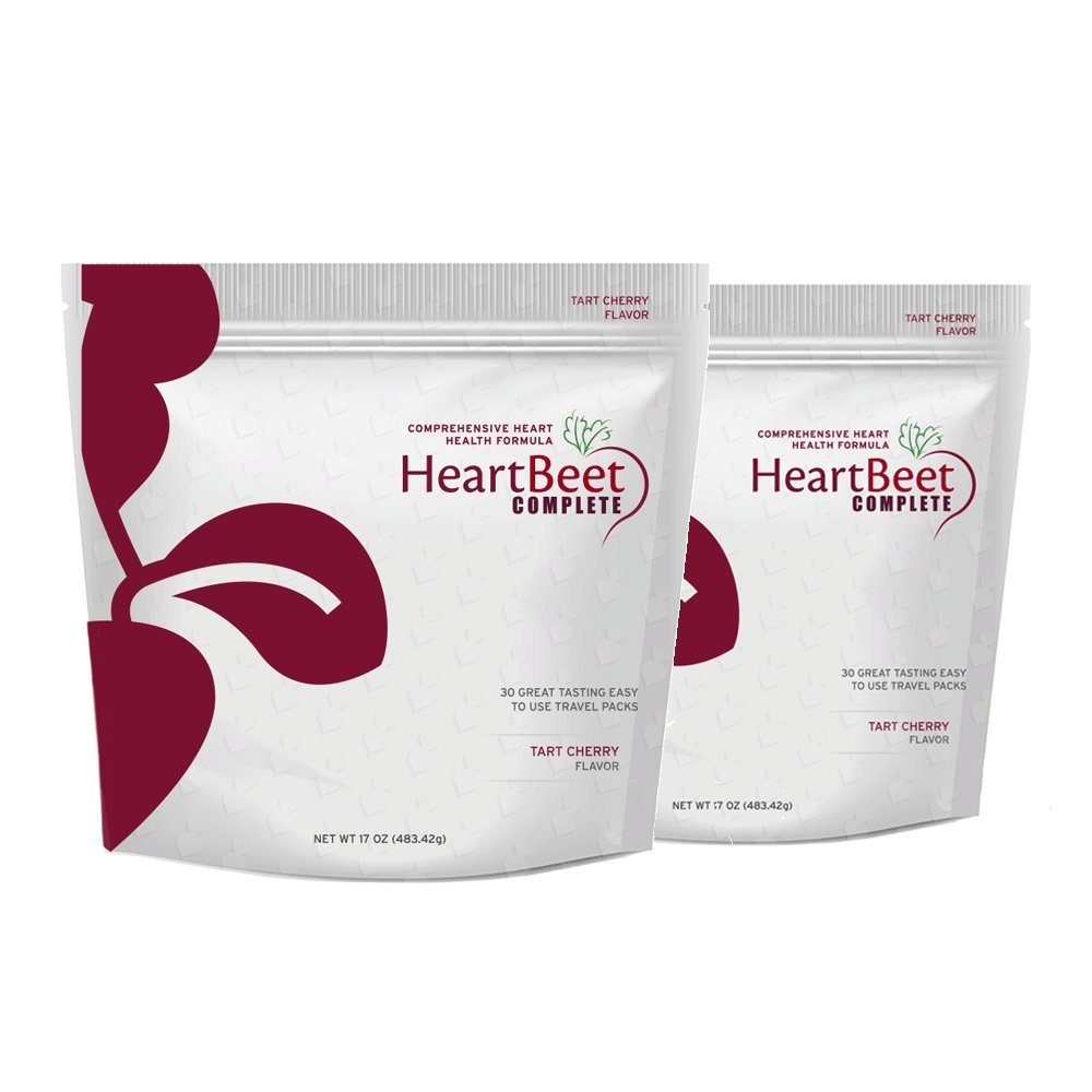 HeartBeet Complete - Natural Beetroot Powder Formula with L-arginine, L-citrulline, CoQ10 and Turmeric. 30 Stick Packs in Each Bag. Natural & Side-Effect Free