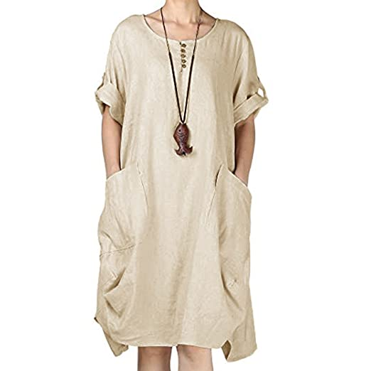 1efef2bc4eb CMrtew ❤ Fashion New Large Size Women Button Solid Color Cotton and Linen  Casual O