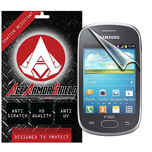 Ace Armor Shield Shatter Resistant Screen Protector for the Samsung Star Trios / Military Grade / High Definition / Maximum Screen Coverage / Supreme Touch Sensitivity /Dry or Wet Easy Installation with free lifetime replacement warranty