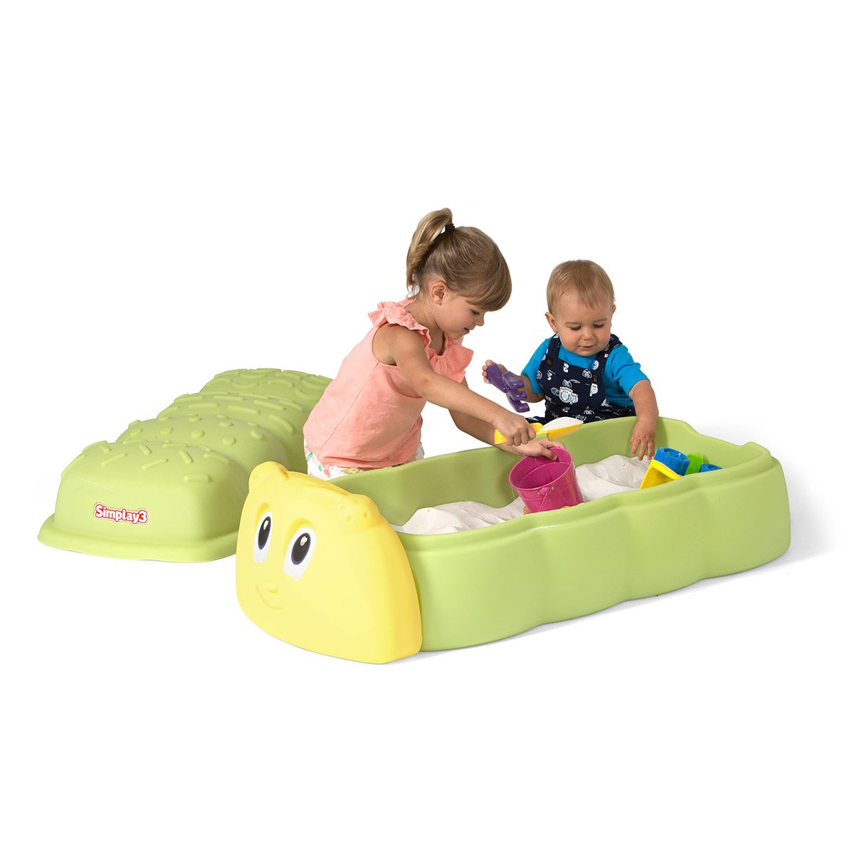 Simplay3 Caterpillar Toy Sand Box with Lid
