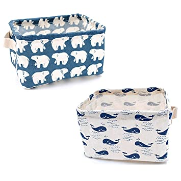 Jacone Kids Storage Bins With Cute Pattern,Waterproof Fabric Storage Baskets  With Handles ,Collapsible