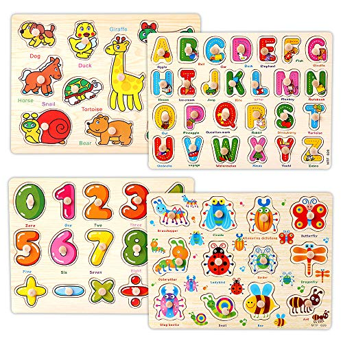 Educational Peg - Kids Wooden Peg Puzzles Play Set, Alphabet ABC Numbers 123 Animals Insects Learning Puzzles Board, Preschool Educational Peg Puzzles Montessori Toy Gift for 1 2 3 Year Olds Toddlers Baby Girls Boys