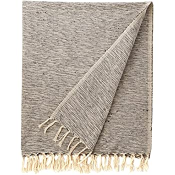 """DII Rustic Farmhouse Cotton Variegated Blanket Throw with Fringe For Chair, Couch, Picnic, Camping, Beach, & Everyday Use , 50 x 60"""" - Variegated Black"""