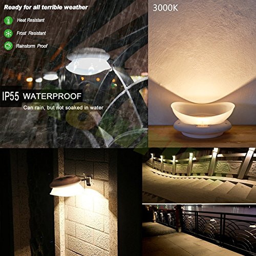 Solar Gutter Lights Outdoor Warm White 3000K Waterproof Smart LED Fence Light Dusk to Dawn 0.5W 100LM 9PCS 2835SMD Non Dimmable Safety Lamps for Stair Wall Corridor Walkway Garden Pack of 4 by Rowrun (Image #4)