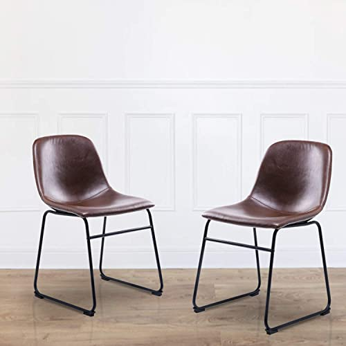 Rfiver Leather Dining Chair Set of 2, Brown PU Cushion Side Chairs with Back and Sturdy Metal Legs for Kitchen Dining Bedroom Living Room, Mid Century Modern Style BS1001