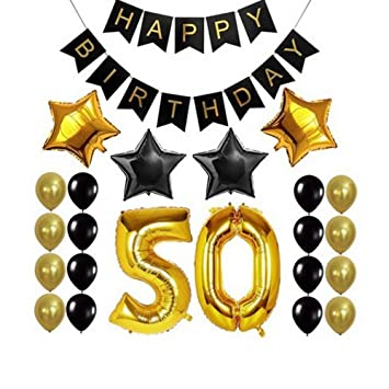 Amazon.com: 50th BIRTHDAY PARTY DECORATIONS KIT - Happy ...