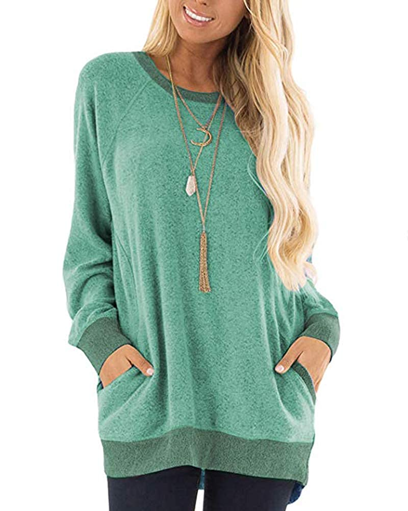 Womens Sweatshirts with Pockets Loose Pullover Long Sleeve T Shirt Round Neck Blouse Tops