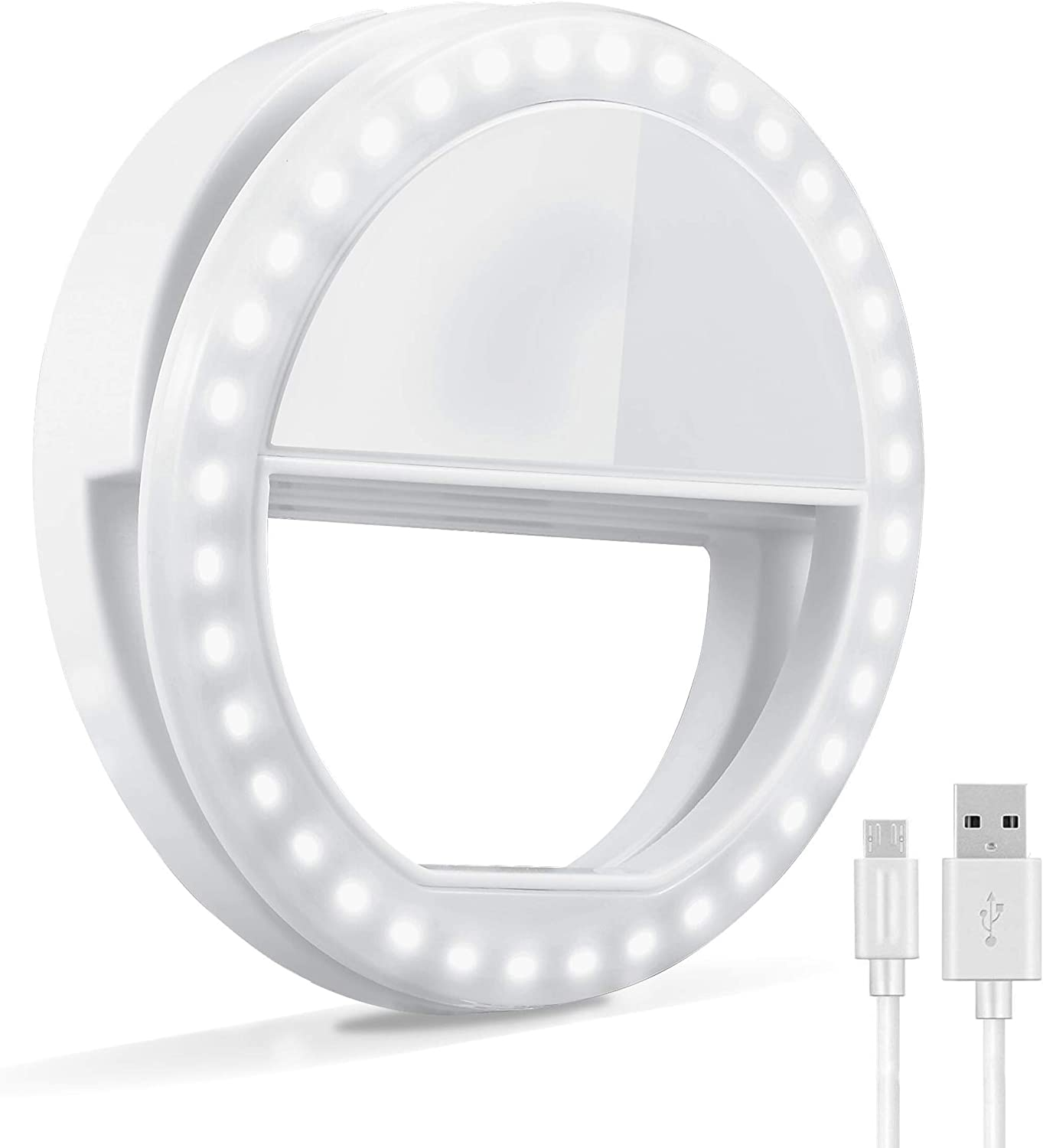 Selfie Ring Light, Oternal Selfie Light Rechargeable Portable Clip-on Selfie Fill Ring Light for iPhone Android Smart Phone Photography, Camera Video, Girl Makes up (Grey White)