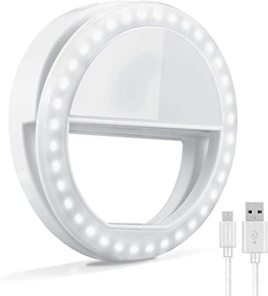 Selfie Ring Light Camera Video Recording Vlog MercuryGo Rechargeable Portable Clip-on 40 LED Circle Light with 3 Light Modes for iPhone//Android Smart Phone Photography