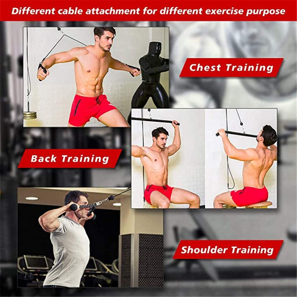 Upgraded Cable Attachments Training for Triceps Pull Down Biceps Curl 11Pcs LAT Machine Accessory Pull Down Bar Forearm Home Gym Equipment Funiup LAT and Lift Pulley System Back