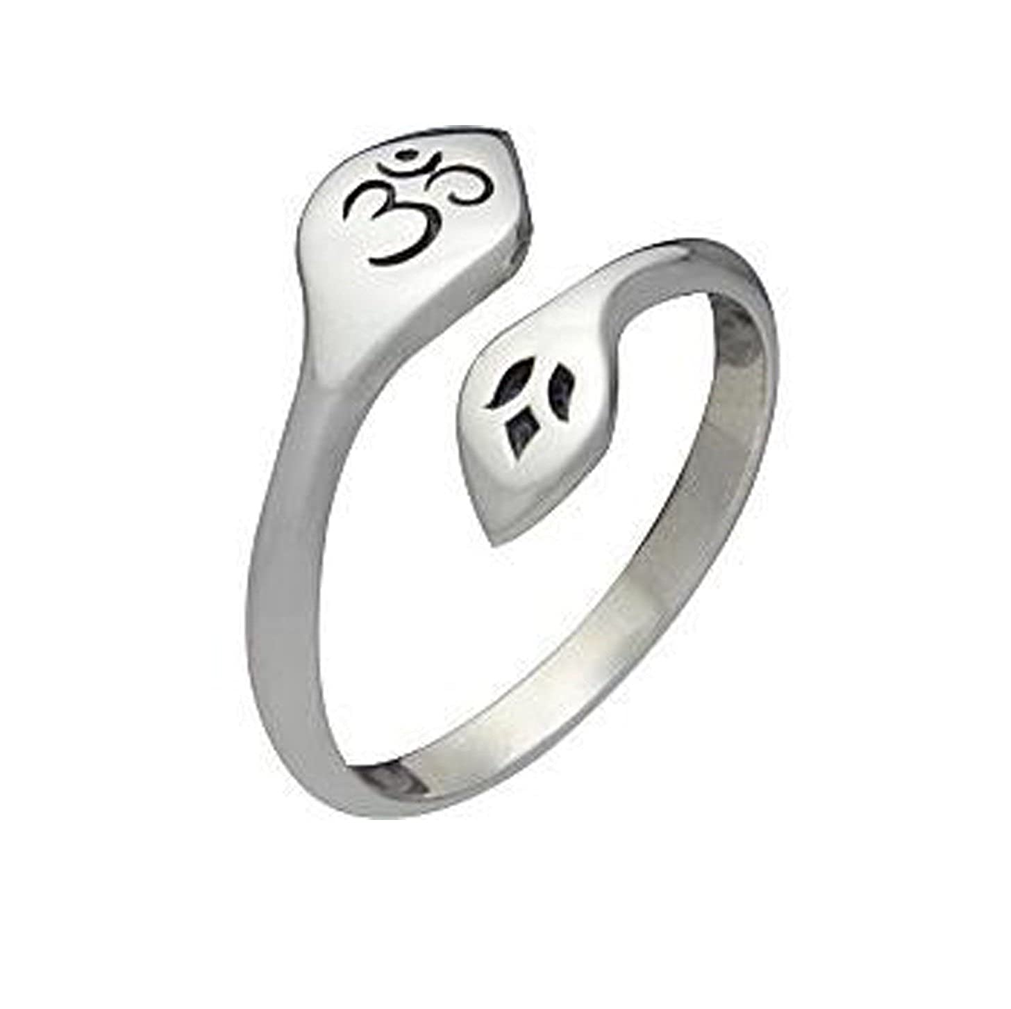 tusakha Awesome 14K White Gold Plated Sterling Silver Bypass Om & Lotus Ring-Adjustable Toe Ring For Womens TUSR_001