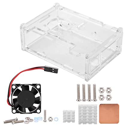 Heatsink Kit For Raspberry Pi 2//3// B+ Clear Case Enclosure Box Cooling Fan