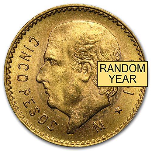 1921 MX - 1947 Mexico Gold 5 Pesos AGW .1205 (Random Year) Gold Very Good