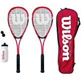 Wilson Hyper Team 500 Squash Racket Set With Squash Balls & Waterbottle