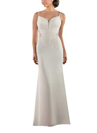 ed1d03c3041c Doramei Women s Lace Strap V-Neck Backless Sheath Romantic Long Wedding  Dress For Bride 2018 at Amazon Women s Clothing store