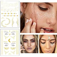 Xinlie 2 Stück Tätowierungsaufkleber Metallic Flash Tattoos Face Tattoo Face Sticker Gesicht Aufkleber for Holiday Gift Girls and Young Women für Augen Gesicht Party Festival Shows Gold (2 Stück)
