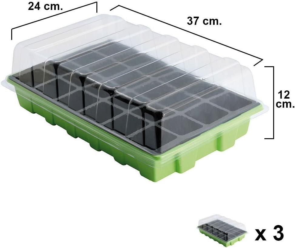 Semillero Invernadero 24 Compartimentos Con Bandeja Anti Goteo 3 Sets
