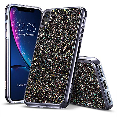 - ESR Glitter Hard Case for iPhone XR, Glitter Bling Hard Cover with Dual-Layer Structure [Hard PC Back Exterior + Soft TPU Interior] for Women [Supports Wireless Charging] for The iPhone XR, Black
