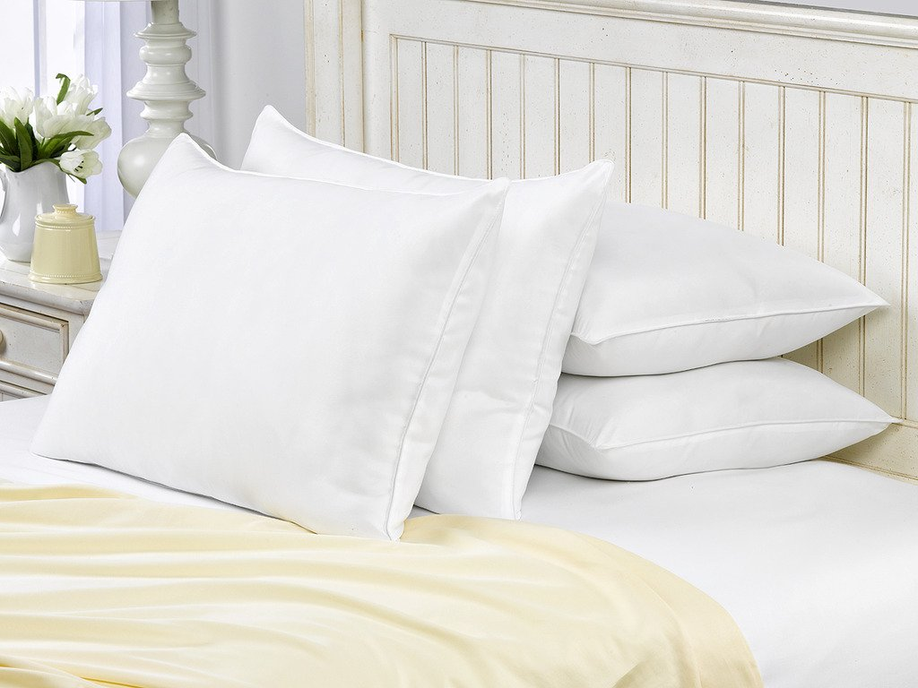 SOFT French Country King Size Bed Pillows- 4 Pack White Hotel Pillows- Gel Fiber Filled SOFT Gel Pillows with Hypoallergenic Classic Cover- Best Pillow For Stomach Sleepers