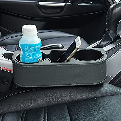 ATMOMO Gray Multifunctional Car Cup Holder Car Seat Organizer Gap Filler Bottle Phone Storage Organizer: Automotive