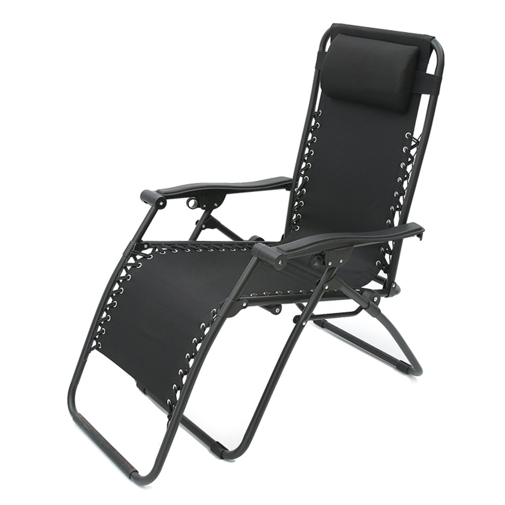 Black GWDJ Lounger Deck Chairs Solid color Household Small-Scale Folding Chair Creative Space-Saving Balcony Lounger Office Siesta Casual Backrest Chair (3 colors Available) Relaxer Recliner