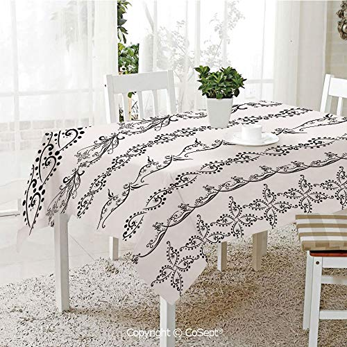 Polyester tablecloth,Fantasy Spring Blossoms Abstract Display Traditional Borders Collection Monochrome Decorative,Fashionable Table Cover Perfect for Home or Restaurants(60.23