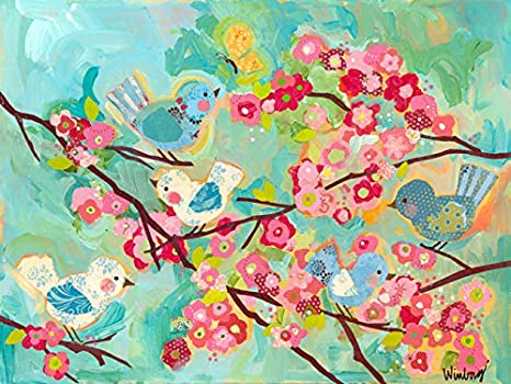 Amazon.com: Oopsy Daisy Cherry Blossom Birdies Stretched Canvas Wall ...