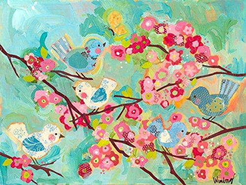 Birdie Canvas - Oopsy Daisy Cherry Blossom Birdies Stretched Canvas Wall Art, 40
