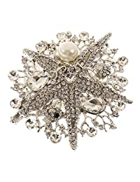 Vintage Crystal Starfish Pearl Hair Comb Clip Bride Lady Accessories Jewelry