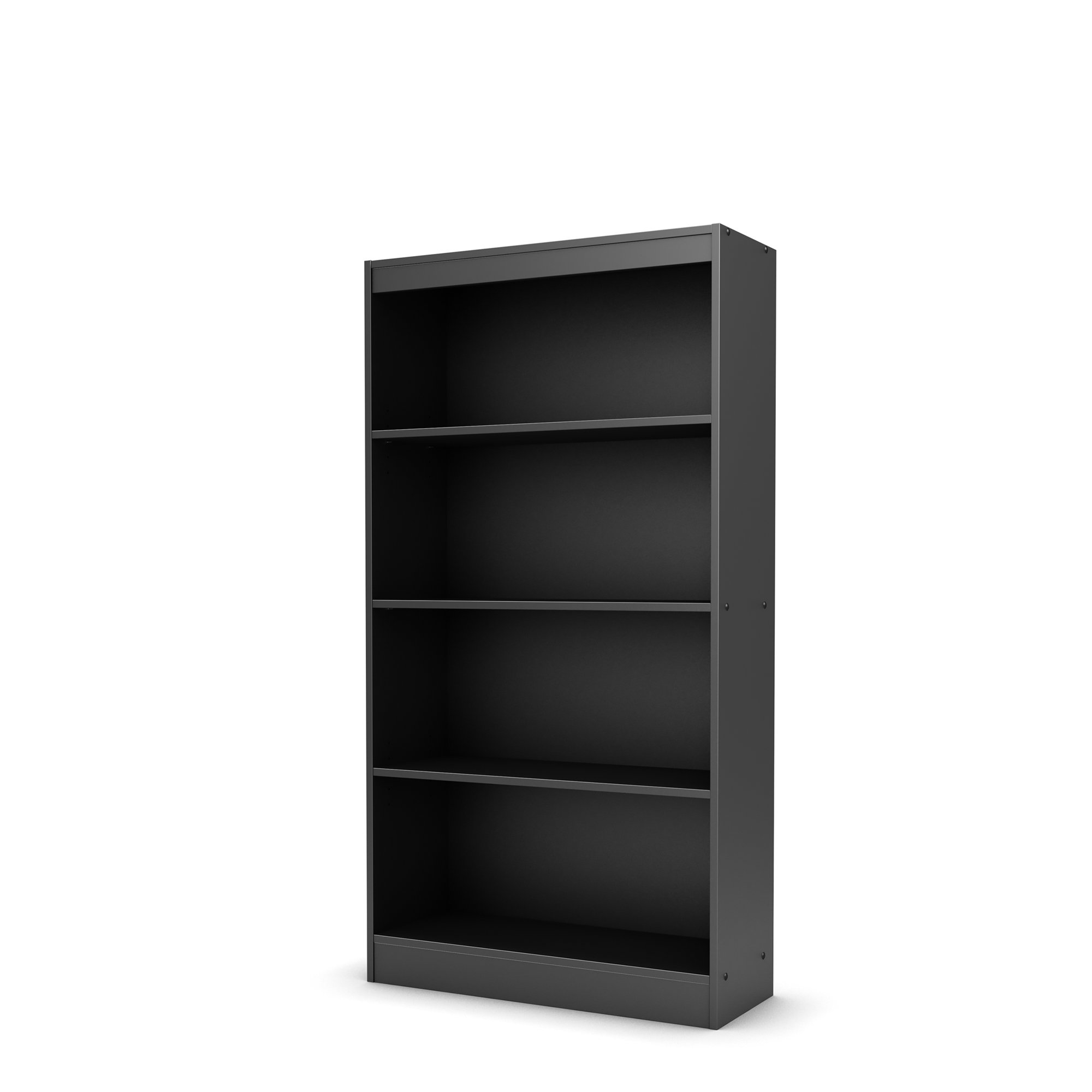 South Shore 4-Shelf Storage Bookcase, Pure Black